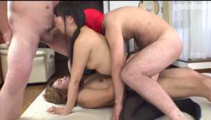 Young amaeur girl's anal and pussy are fucked by three men Tokyo-Hot uncensored JAV porn image