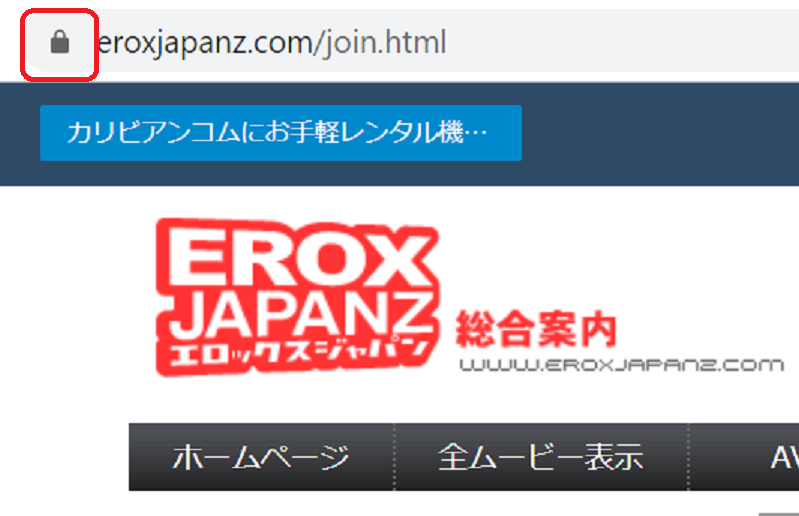 the evidence that EROX JAPAN Z is encrypted. There is a key mark in the address bar that is evidence of encryption