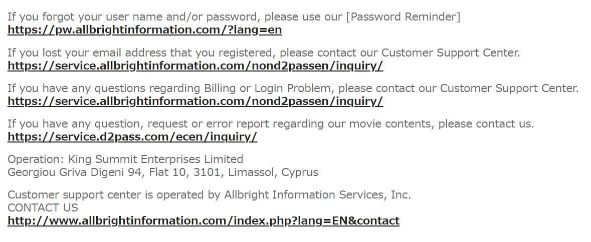 Contact page on H0930