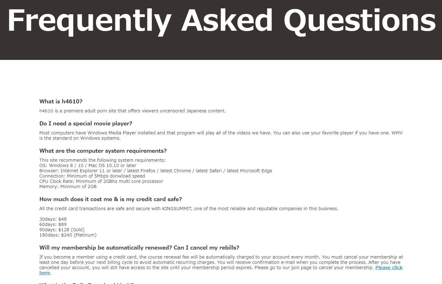 FAQ page on H4610