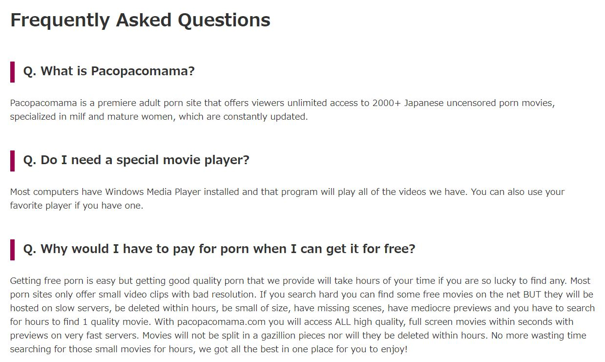 FAQ page on PacoPacoMama