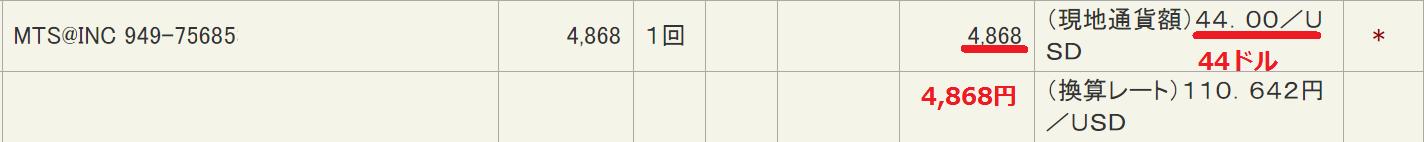 ZERO-ANIMATIONの1か月会員料金クレジットカード明細