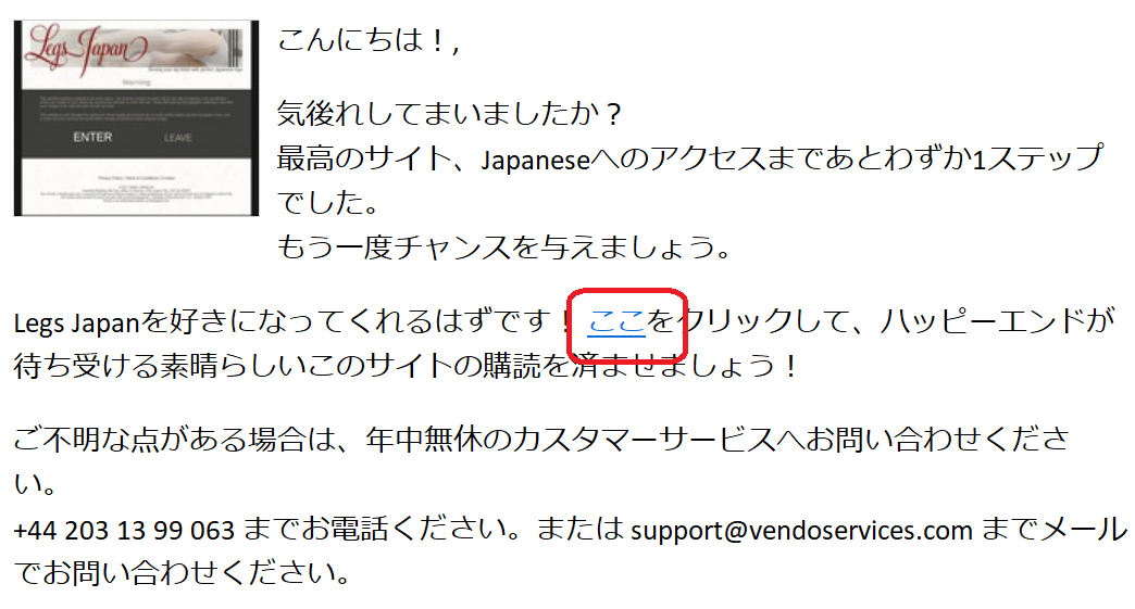E-mail from Legs Japan