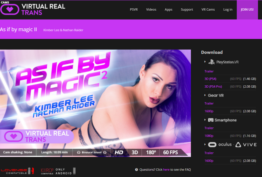 VirtualRealTrans video page